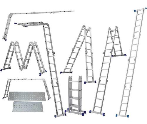escada alumínio articulada 4x4 - 4,71 m c/ plataforma (mor)
