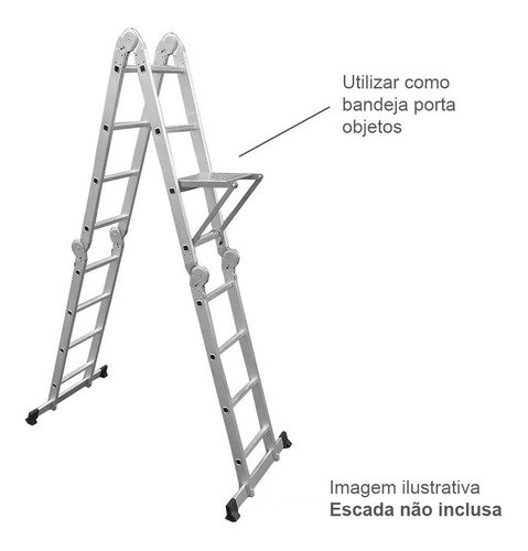 escada alumínio multifuncional 12 degraus e bandeja brinde
