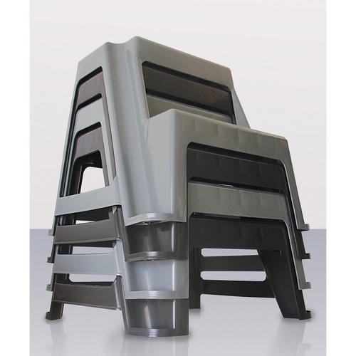 escada banqueta banquinho 2 degraus empilhavel preta