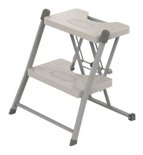 escada cinza 2 degraus dobrável compacta 120 kg - anodilar