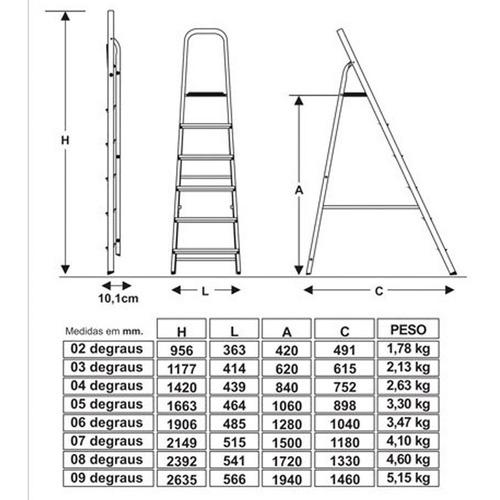 escada de aluminio doméstica 7 degraus - botafogo