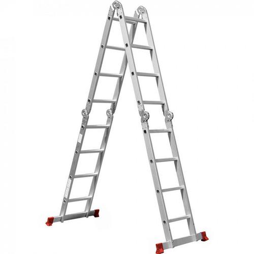 escada dobrável multifuncional alumínio 4x4 16 degraus 150kg