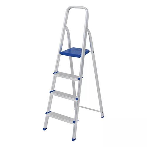 escada doméstica alumínio 4 degraus dobrável 120 kg - mor