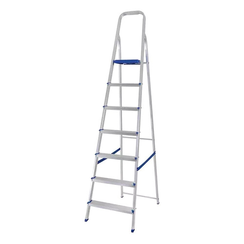 escada doméstica alumínio 7 degraus dobrável 120 kg - mor
