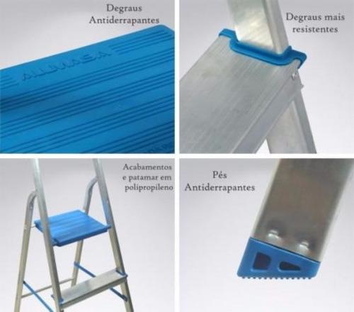 escada doméstica alumínio 7 degraus dobrável 120kg alumasa