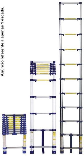 escada em alumínio telescópica 3,12m mor 10 degraus everest