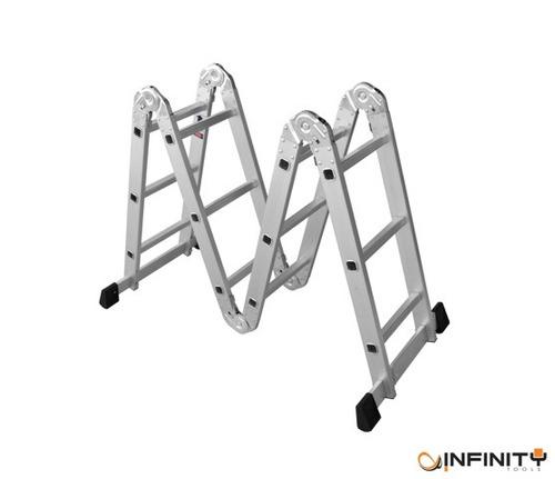 escada multifuncional 4x3 alumínio 12 degraus a maior 3,70m