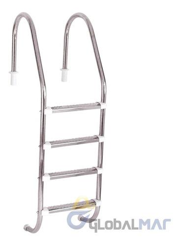 escada para piscinas alvenaria com 4 degraus em aço inox