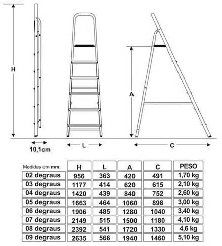 escada residencial de alumínio 7 degraus - botafogo