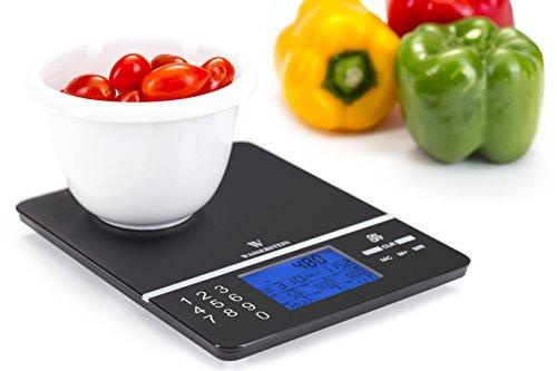 escala de nutrición digital; datos de nutrición pantalla de
