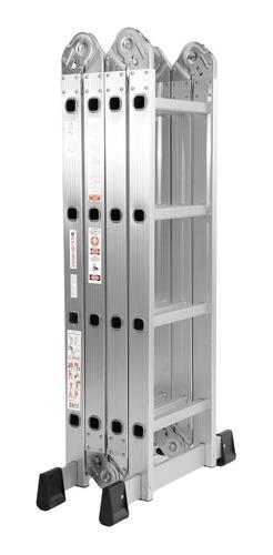 escalera aluminio 4x4 articulada plegable multifuncion daewoo reforzada 150kg espesor 1,2mm