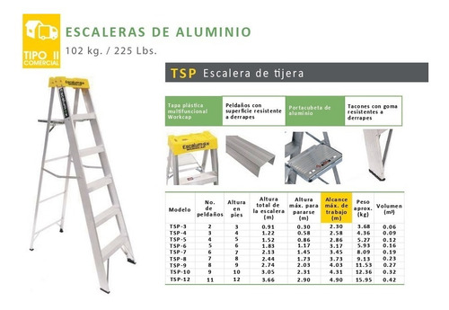 escalera aluminio escalumex 2 pelda?os 0.91 mts tsp-3 tipo i