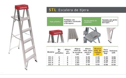 escalera aluminio escalumex 4 peldaños 1.52 mts stl-5 r tipo