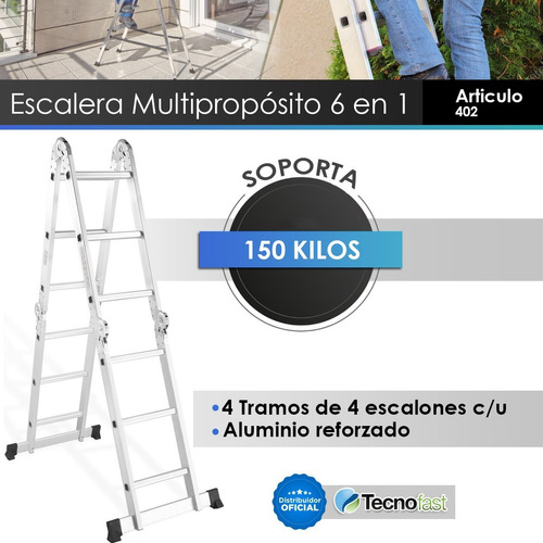 escalera aluminio multifuncion 16 escalones 4.7m reforzada