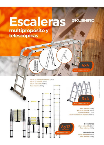 escalera aluminio multifunción 4x4 + plataforma acero
