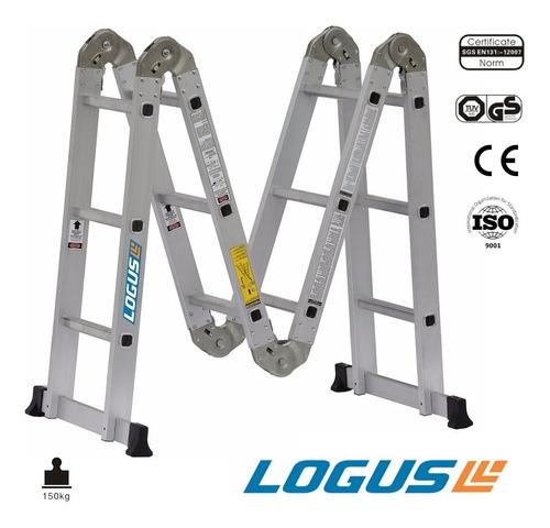 escalera aluminio reforzado 4x3 logus multiproposito