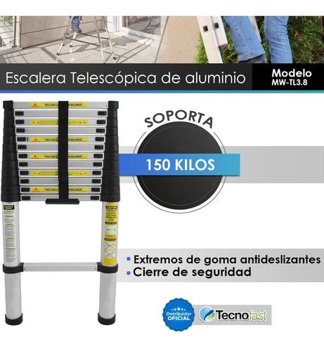 escalera aluminio telescopica 12 escalones 3.80mts