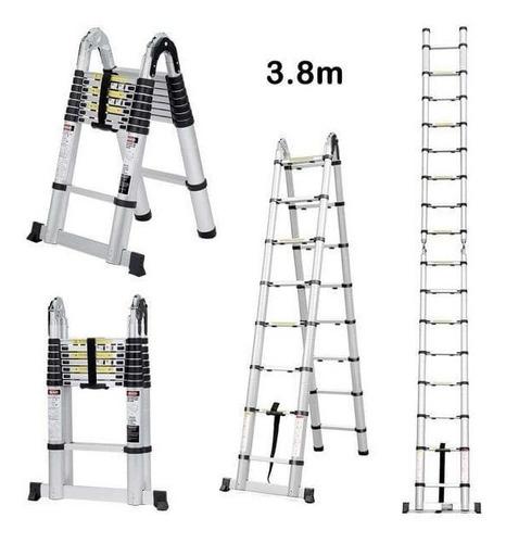 escalera aluminio telescópica plegable 150kg - 3,80 metros
