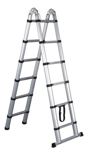 escalera aluminio telescopica tijera 2x7 escalones 4.40mts