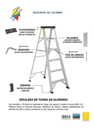 escalera aluminio tijera 5 pasos / 1.50 metros 102 kg