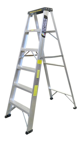 escalera aluminio tijera 6 pasos / 1.80 metros 102 kg