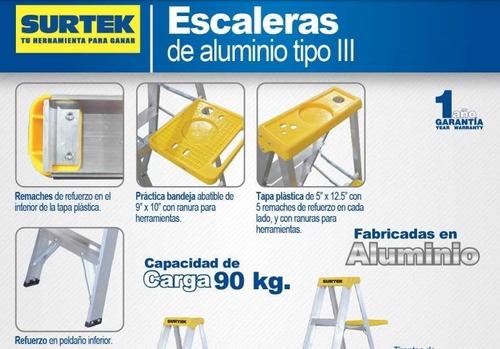 escalera aluminio tipo tijera de 5 peldaños 1.83 mts (et5)