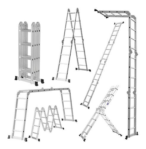 escalera andamio aluminio 3.4 mts 12 escalones + chapones