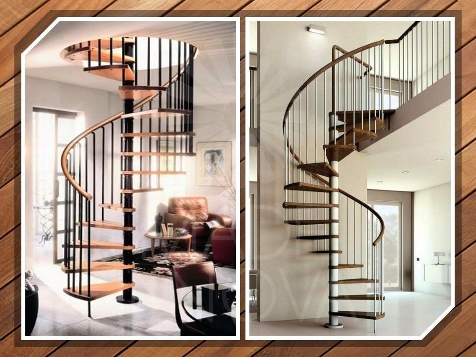 escalera caracol x metro lineal hierro y madera