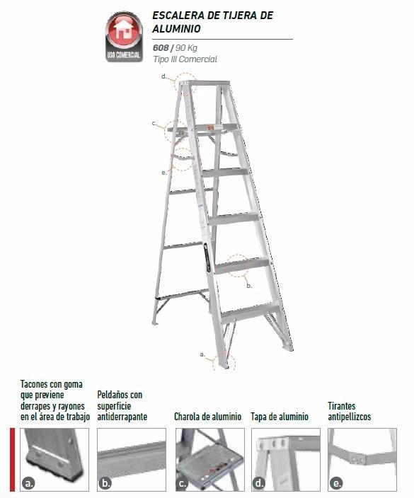 Escalera cuprum 608 90 kg aluminio en mercado libre for Escaleras cuprum