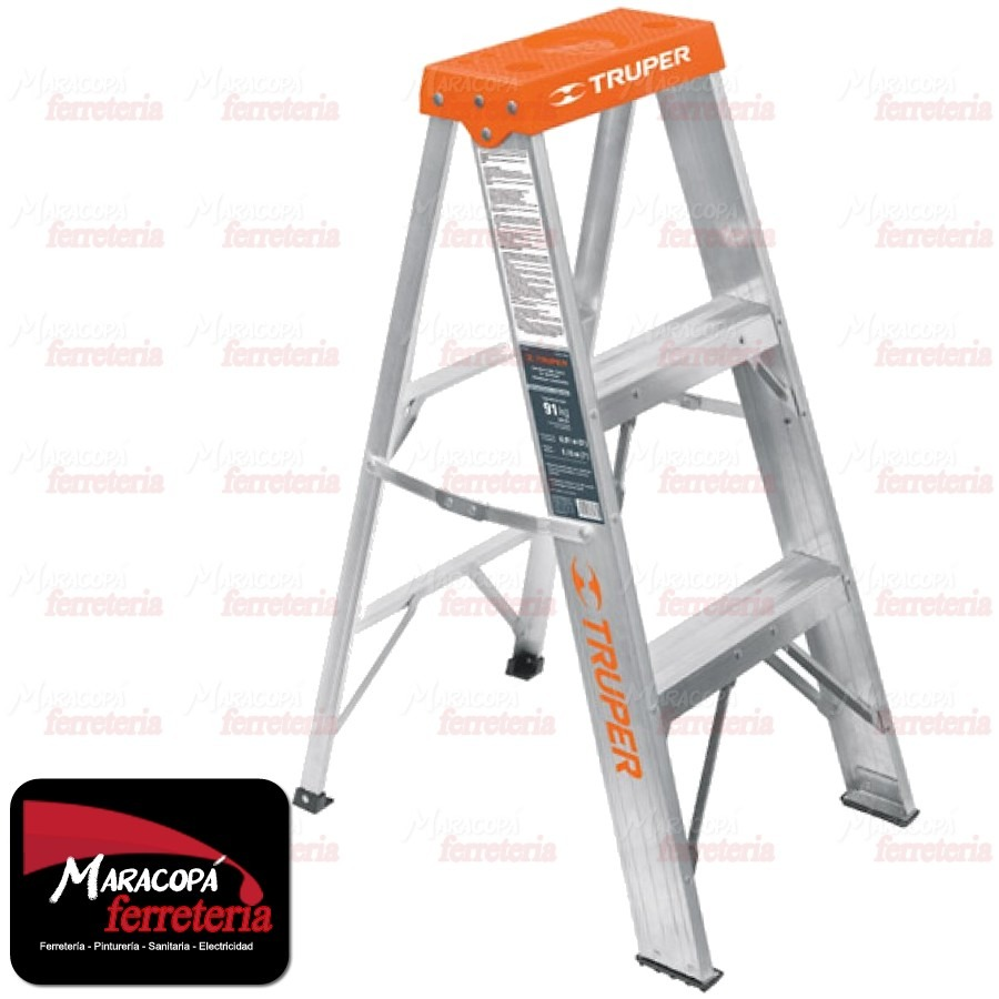 Escalera de aluminio 3 escalones truper excelente calidad for Escalera de aluminio de 3 metros
