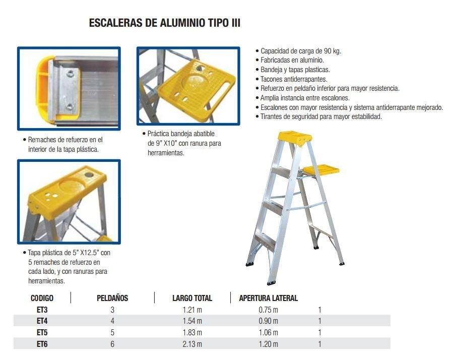Escalera de aluminio 3 pelda os metros tipo iii et3 for Escalera de aluminio de 3 metros