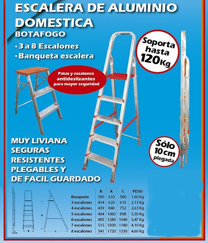 escalera de aluminio hasta 120kg 3 escalon gratis a belgrano