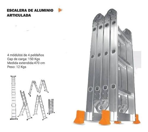 escalera de aluminio plegable 4x4 4.70 mts lusqtoff le 400