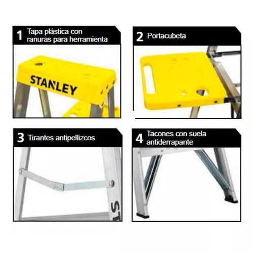 escalera de aluminio stanley 4 escalones plegable tijera