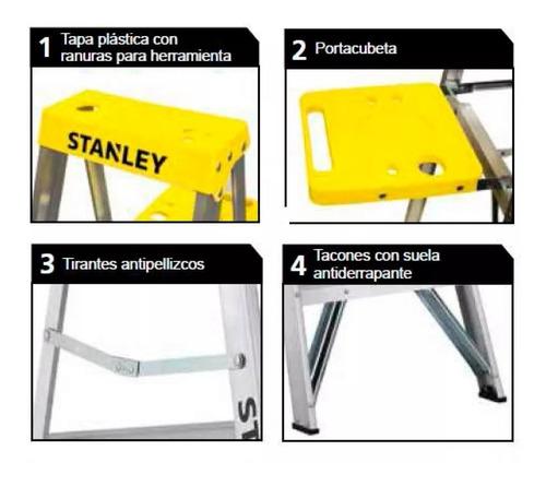 escalera de aluminio stanley 6 escalones plegable tijera