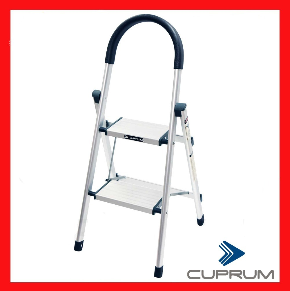 Escalera de aluminio tipo taburete marca cuprum 2 peldanos for Escalera aluminio 2 peldanos