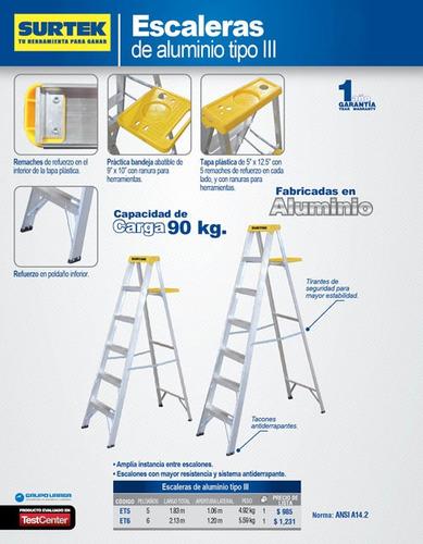 escalera de aluminio tipo tijera, 6 peldaños, 2.13mt surtek