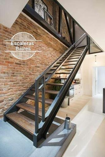 escalera de hierro y madera para interior