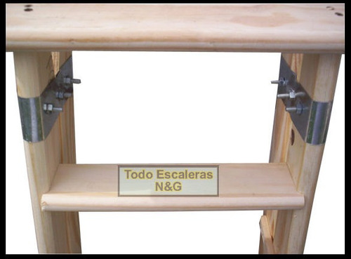 escalera de madera reforzada 6 escalones tipo familiar,