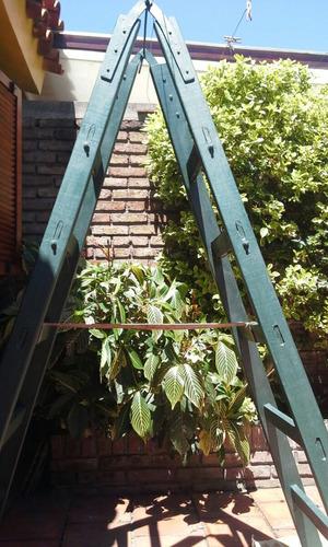 escalera de madera(fuerte) doble hoja,8 escalones impecable