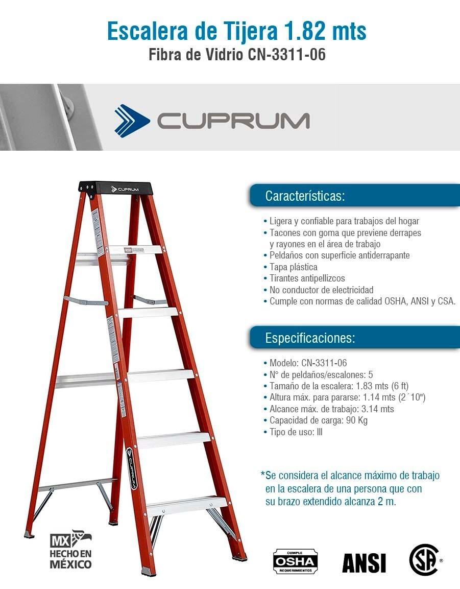 Escalera de tijera cuprum cn 3311 06 fibra de vidrio - Escalera fibra de vidrio ...