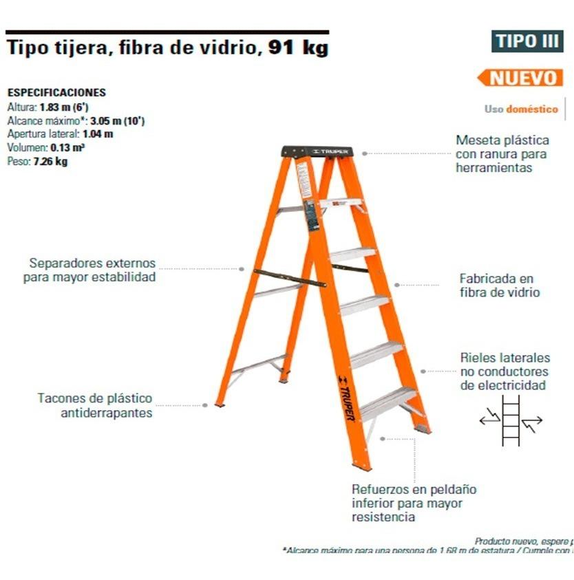 Escalera de tijera fibra de vidrio truper 16756 1 485 - Escalera fibra de vidrio ...