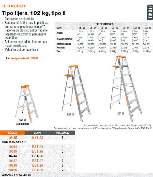 Escalera de tijera tipo 2 9 escalones 1 en for Escalera 9 escalones