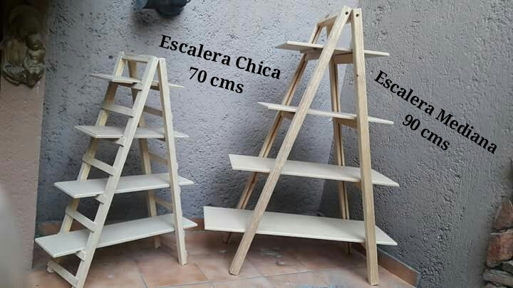 Escalera decorativa de madera rustica candy bar vintage for Bar de madera vintage