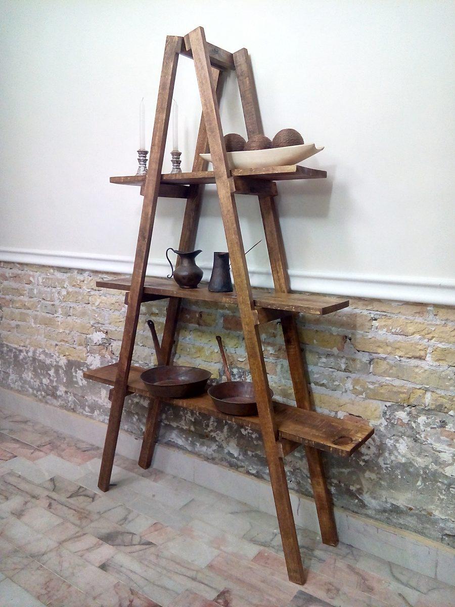 Escalera decorativa vintage gris mueble repisa sala for Repisa escalera