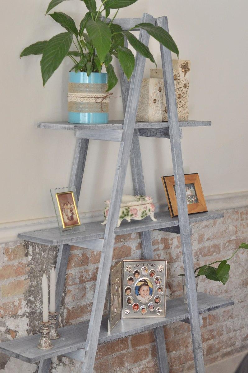 Escalera decorativa vintage mueble de repisas sala for Escalera madera decoracion