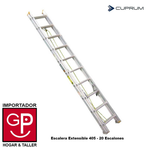 escalera extensible de aluminio 405 - 20 escalones cuprum