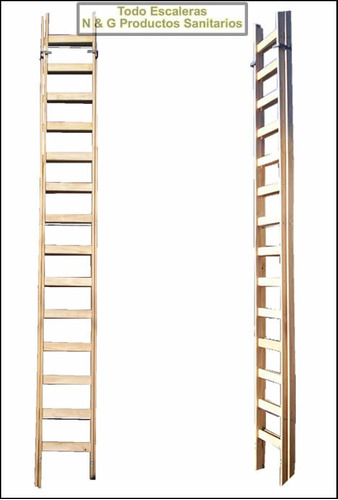 escalera extensible de madera 24 escalones 6.20 m reforzada