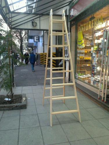 escalera familiar doble de 8 escalones de madera