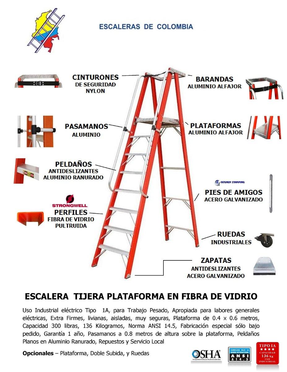 Escalera fibra plataforma 5 pasos 1 5 mts 136 kg 1 for Escaleras de aluminio usadas